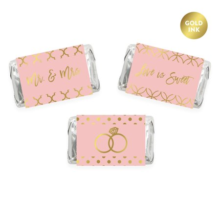 Blush Pink and Metallic Gold Confetti Polka Dots, Chocolate Minis Labels, Fits Hershey's Miniatures, - Dot Confetti