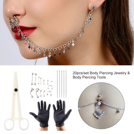 Nose Piercing Tools - Ymiko 20pcs/set Tongue Nose Belly Button Body Jewelry Piercing Rings Clamp Gloves Needles Tool Kit,Piercing Ring Kit,Body Piercing Kit