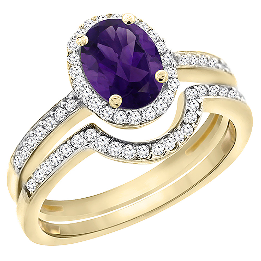 10K Yellow Gold Diamond Natural Amethyst 2-Pc. Engagement Ring Set Oval 8x6 mm, sizes 5 10 by WorldJewels