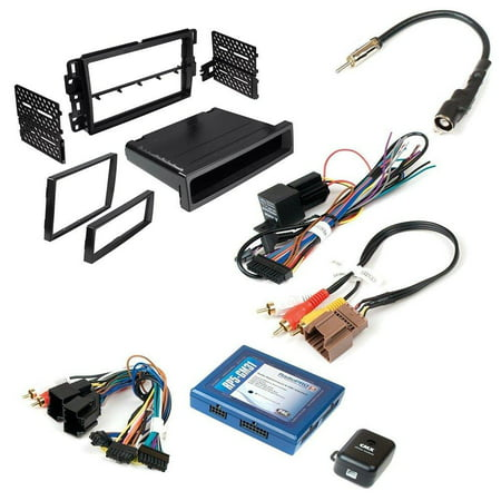 BUICK CHEVROLET GMC HUMMER PONTIAC SATURN SUZUKI ( SELECT MODELS ) AFTEMARKET CAR STEREO INSTALL KIT DOUBLE DIN DASH MOUNTING KIT + RADIO REPLACEMENT INTERFACE W/ BUILT IN ONSTAR RETENTION