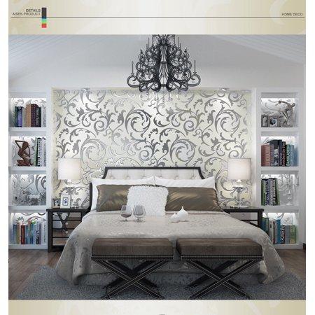 1x10M Luxury Silver 3D Damask Embossed Wallpaper Rolls Home Art Decor ()