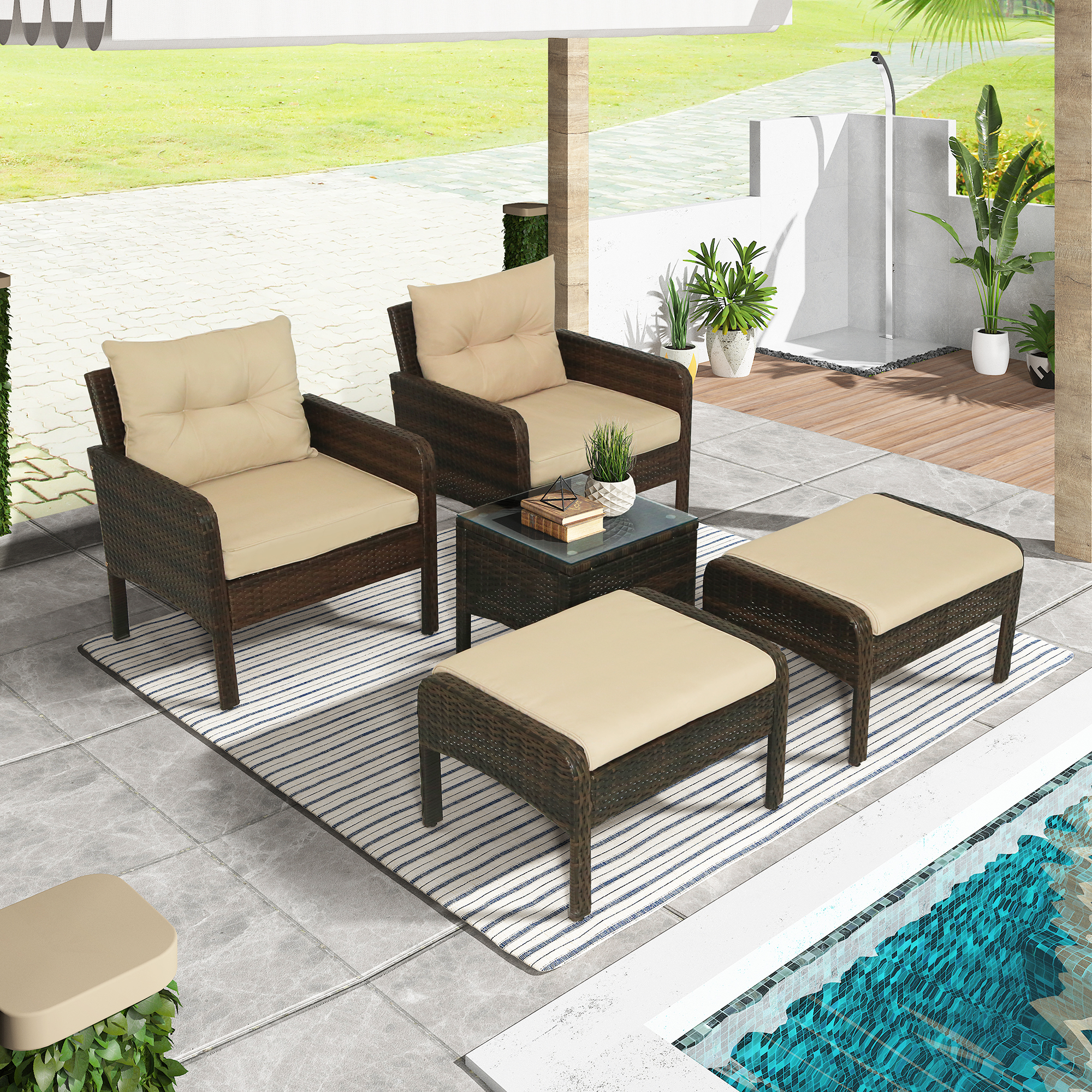 5 Piece Wicker Patio Sofa Set Outdoor All Weather Conversation Set Of 5 With Ottoman Coffee Table Cushioned Deck Chair Set Pe Rattan Lounge Couch For Lawn Patio Pool Balcony Backyard B978