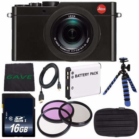 Leica D-LUX (Typ 109) Digital Camera (Black) (International Model no Warranty) + DMW-BLE9 Replacement Lithium Ion Battery + Flexible Tripod with Gripping Rubber Legs + Mini HDMI Cable Bundle (Leica Cable Release)