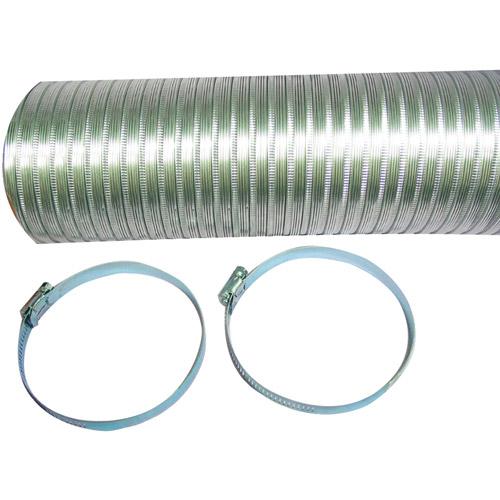 Deflecto Semi-Rigid Flexible Aluminum Duct with 2 Metal Worm Drive Clamps