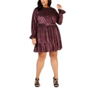 Michael Michael Kors Plus Size Velvet Flounce Dress 1X Black/Cordovan