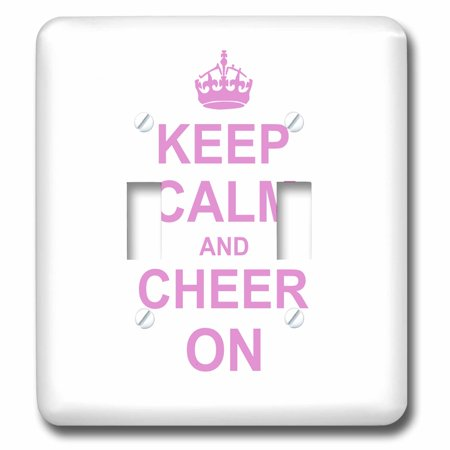 3dRose Keep Calm and Cheer on - carry on cheering - gift for cheerleaders - pink fun funny humor humorous - Double Toggle Switch (lsp_157697_2) (Funny Cheerleader)