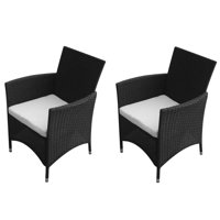 2 pcs Garden Rattan Chairs Black