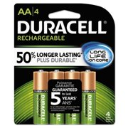 Duracell Rechargeable NiMH Batteries with Duralock Power Preserve Technology, AA, 4/Pack DX1500R4