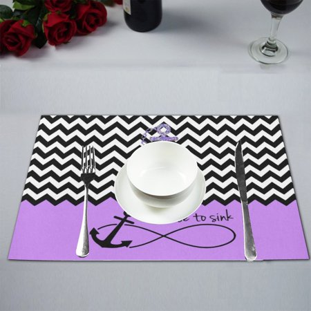 MKHERT Purple Chevron Zigzag Infinity Anchor Quotes I Refuse to Sink  Placemats Table Mats for Dining Room Kitchen Table Decoration 12x18  inch,Set of 6 ...