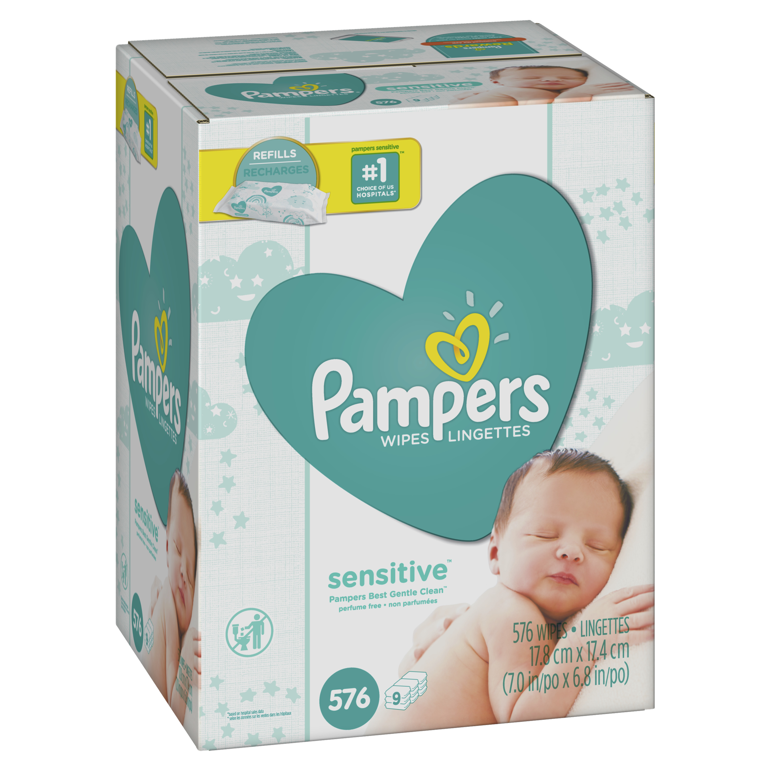 Pampers Baby Wipes Sensitive 9X Refill (Tub Not Included) 576 Count