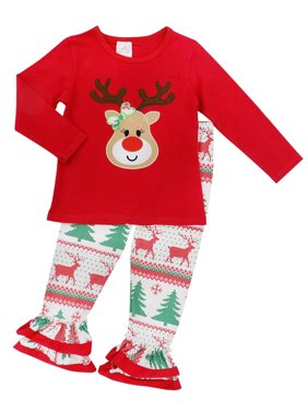 So Sydney Girls Christmas Santa, Tree, Mouse, & More - 2 Piece Girls Boutique Christmas Outfit