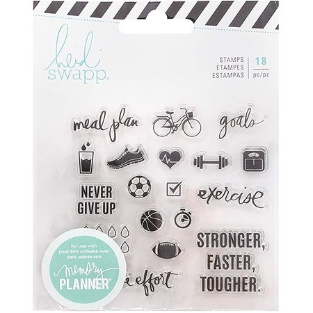Heidi Swapp Memory Planner Clear Stamps - Exercise, one clear acrylic stamp set. Set includes 18 stamps. By Fresh Start