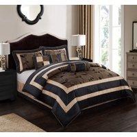 Nanshing Pastora Luxury 7-Piece Bedding Comforter Set with 3 BONUS Decorative Pillows, California King, Brown