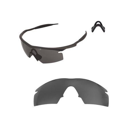 Walleva Black Mr. Shield Polarized Replacement Lenses And Black Nosepad For Oakley M Frame Strike Sunglasses