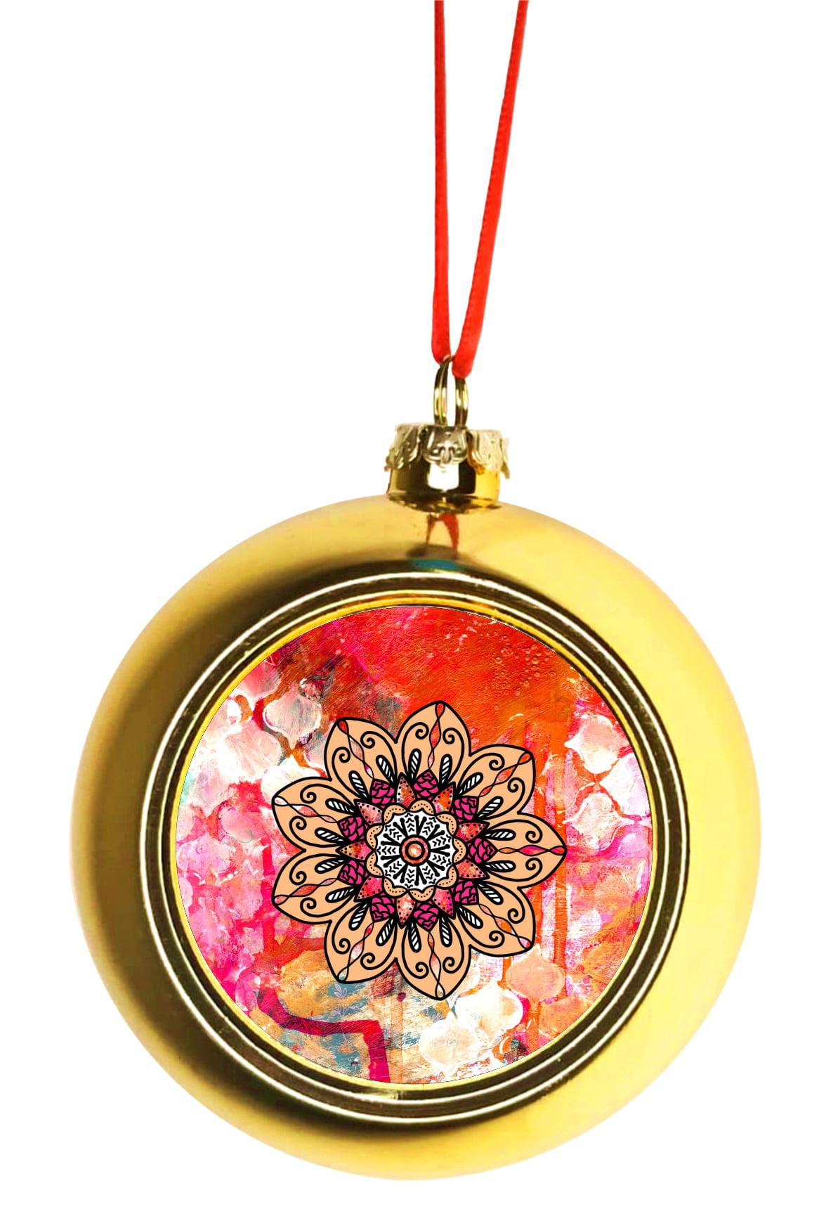Watercolor Floral Mandala Ornaments Gold Bauble Christmas Ornament Balls