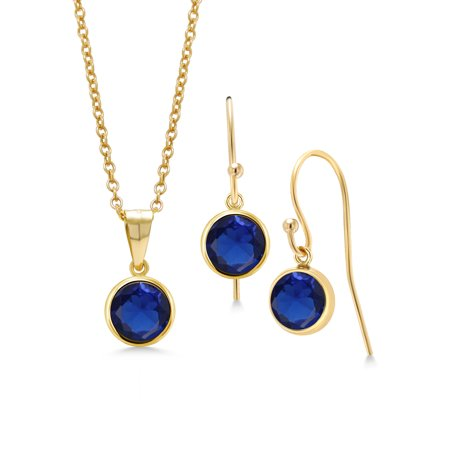 3.00 Ct Blue Simulated Sapphire 14K Gold Filled Pendant Earrings Set With Chain Blue Sapphire Set Earrings