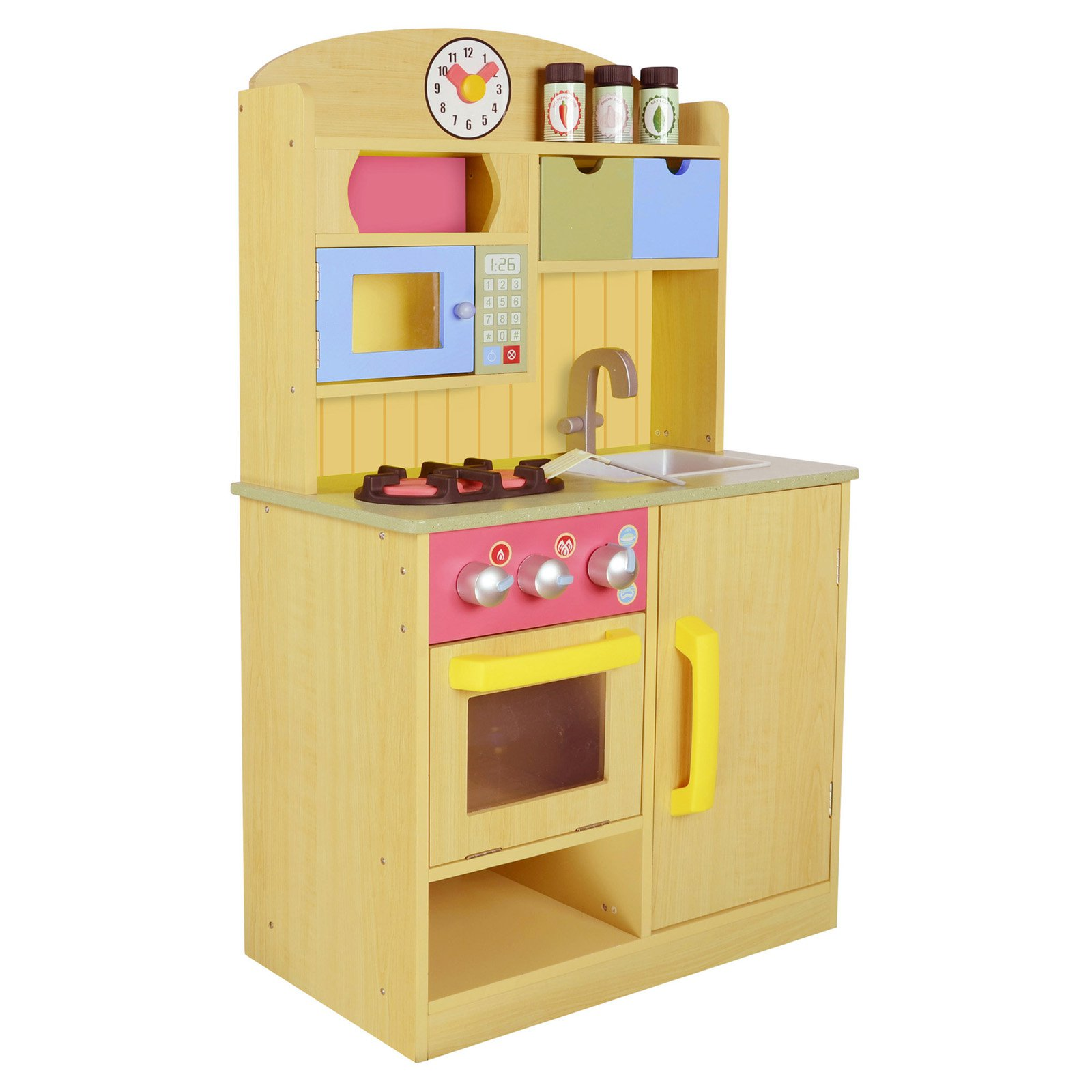 Teamson Kids   Little Chef Wooden Toy Play Kitchen With Accessories    Burlywood   Walmart.com