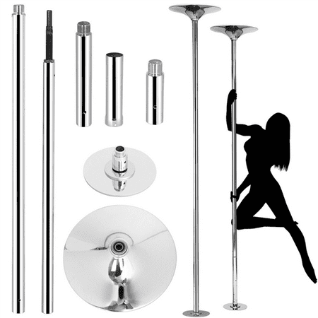 Yaheetech Professional Dance Pole 45mm Solid Dancing Fitness Portable Static Stripper Spinning Exercise, Silver