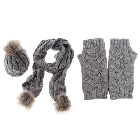0c5e7110520 3 in 1 Women Soft Warm Thick Cable Knitted Hat Scarf   Gloves Winter Set  Gray