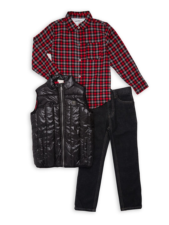 Little Boy's 3-Piece Quilted Vest Set