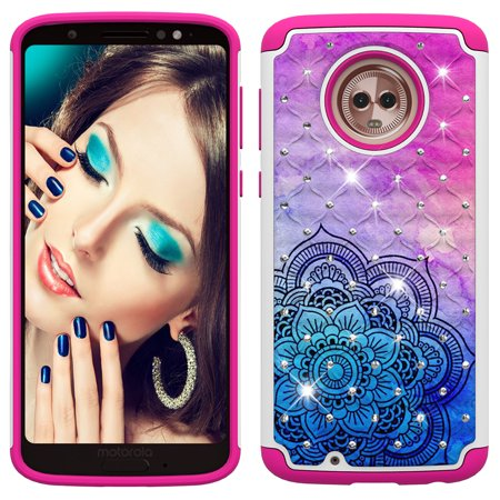 Moto G6 Case, Allytech 2 in 1 Rugged Hybrid Hard PC Soft TPU Impact Back Defender Cover Case with Bling Diamond for Motorola Moto G6/Moto G (6th Generation), Mandala Flower