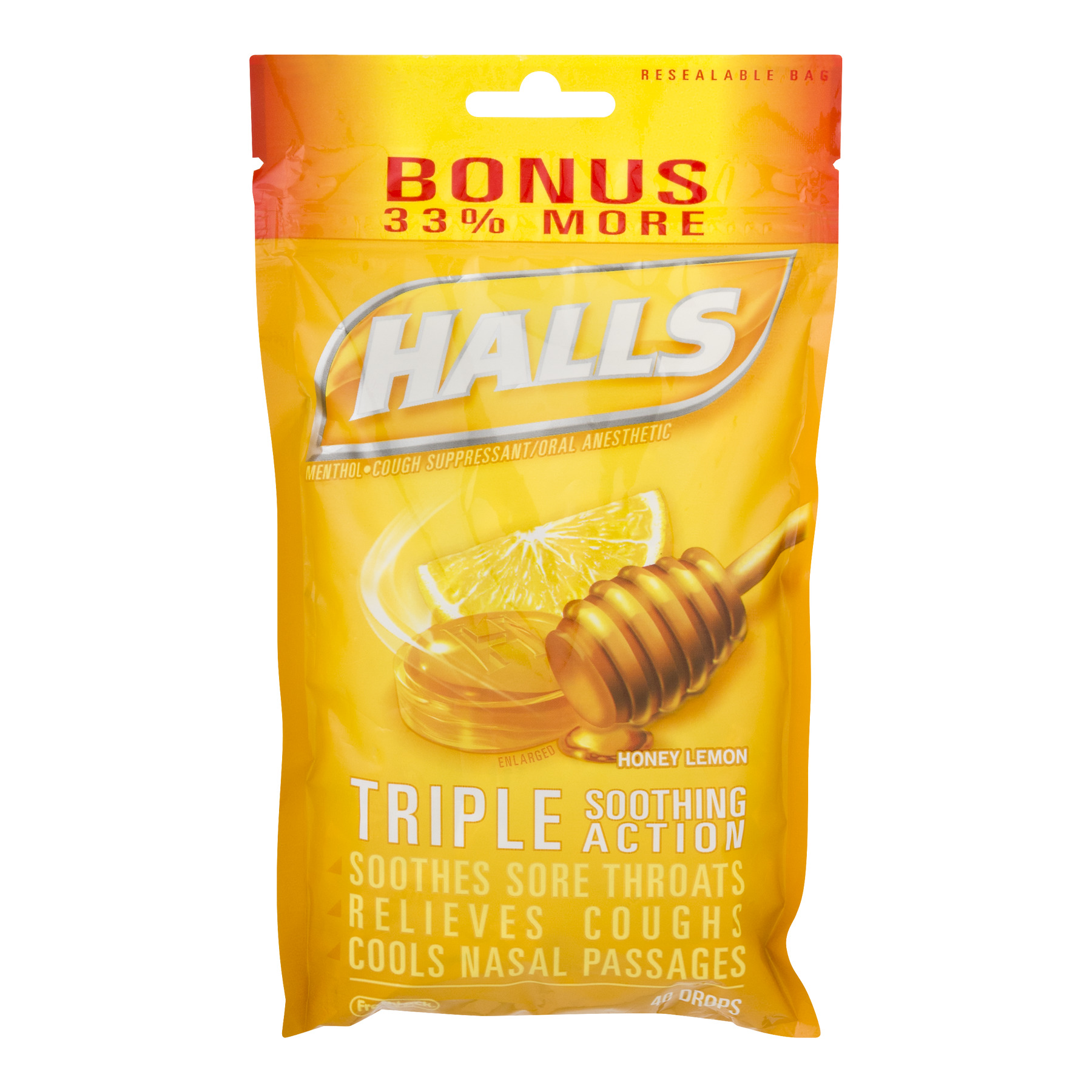 Halls Mentho - Lyptus Cough Drops Advanced Vapor Action, Honey - Lemon Flavor 40 Drops (Pack of 3)