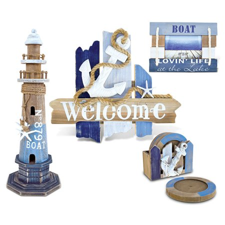 Nautical Decor Welcome Sign, Coasters, Picture Frame and Lighthouse