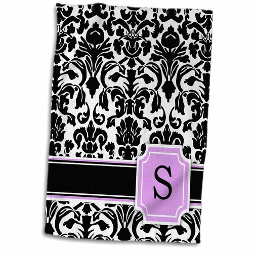 Symple Stuff Lees Personal initial S Monogrammed and Damask Girly Stylish Personalized Letter Hand Towel