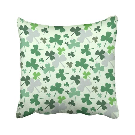 WOPOP Abstract For St Patrick's Day On Shamrock Irish Clover Composition With Label Saint Pillowcase Throw Pillow Cover Case 18x18 inches