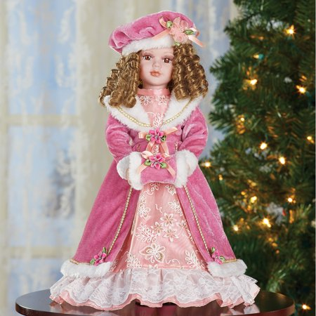 Kelly Winter Victorian Christmas Collectible Porcelain Doll Dressed in Faux Fur Pink Dress - 16
