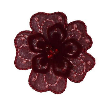 ID 6709 Red Felt 3D Flower Patch Beaded Blossom Embroidered Iron On Applique](Felt Flower Crown)