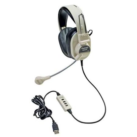 Califone International 3066-USB Deluxe USB Multimedia Stereo Headphones With Boom -
