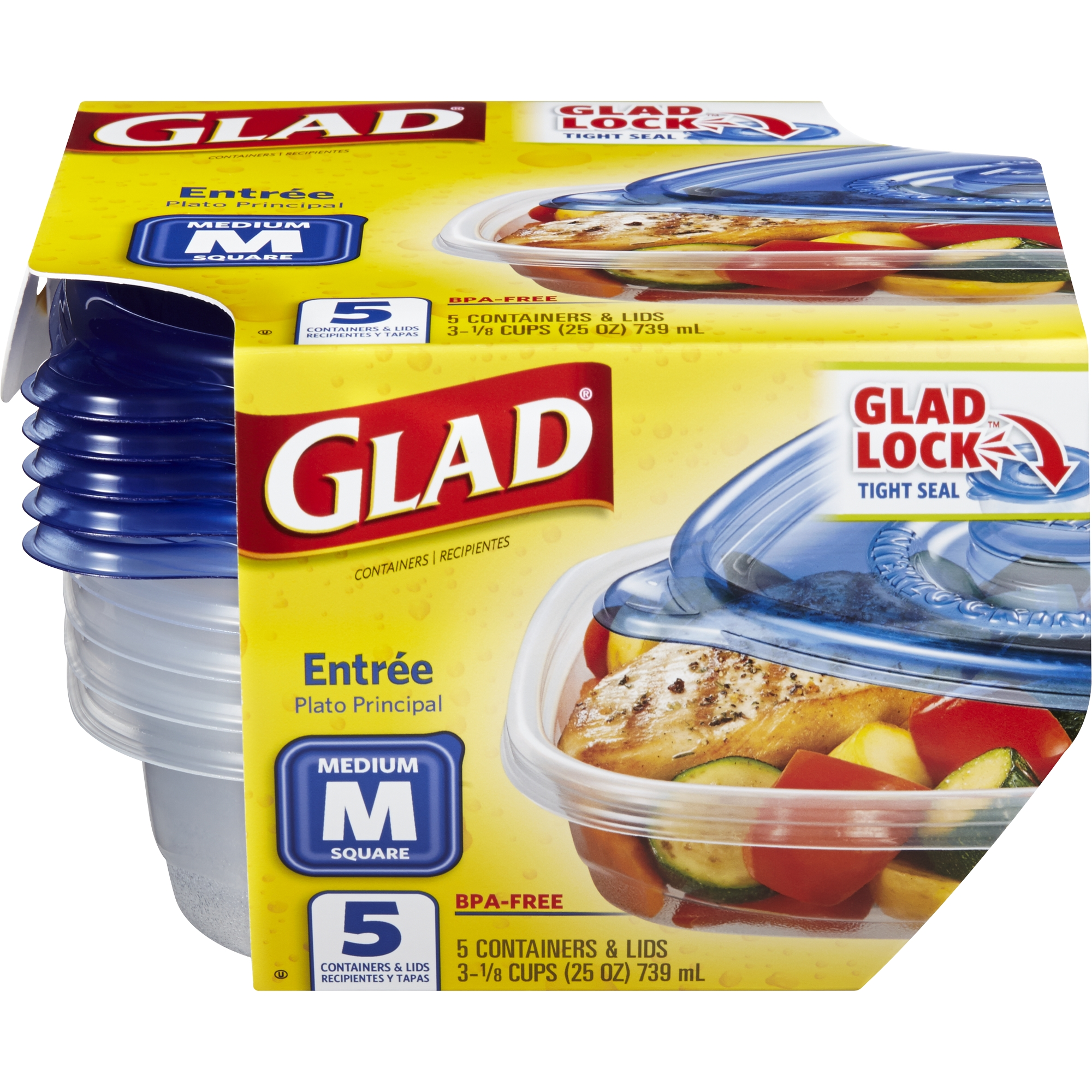 Glad Food Storage Containers, Entree, 25 Ounce, 5 Count