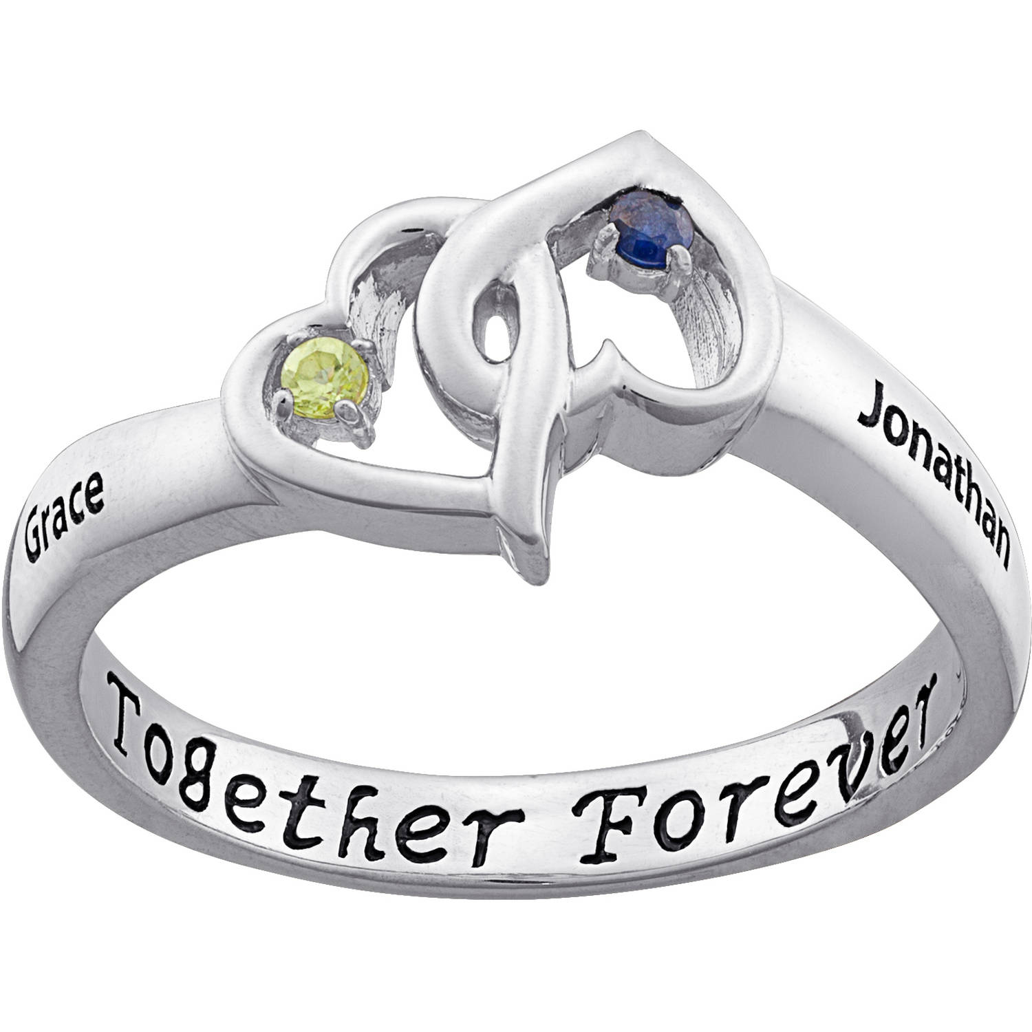 Personalized Sterling-Silver Couple's Entwined Hearts Birthstone and Name Ring
