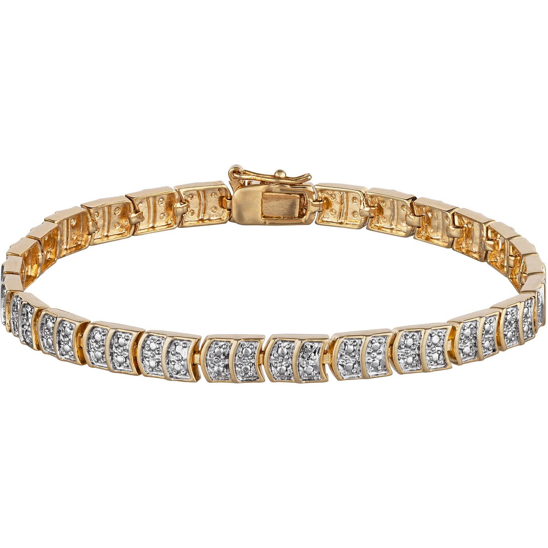Diamond Accent 14kt Gold Plated Tennis Bracelet 7 5 Walmart Com Walmart Com