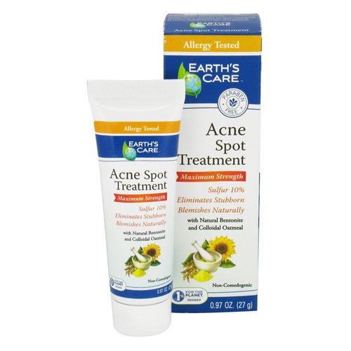 Earths Care Acne Spot Treatment Maximum Strength - 0.97 Oz, 6 Pack Grisi Bio Sulfur Soap with Lanolin, 4.4 oz (Pack of 6)