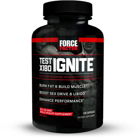 Force Factor Test X180 Ignite Testosterone Booster Fat Burner with Fenugreek, EGCG Green Tea Extract, Horny Goat Weed, 120 Ct.