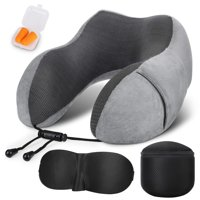 Travel Pillow, 100% Pure Memory Foam Neck Pillow,Comfortable Neck Cushion Neck Pillow for Car,Train,Airplanes Sleeping and Office Napping, with 3D Eye Masks, Earplugs and Gift Box (Gray)