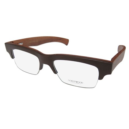 6c295a1fcad New Gold   Wood B14 Mens Womens Designer Half-Rim Wood Chocolate   Brown