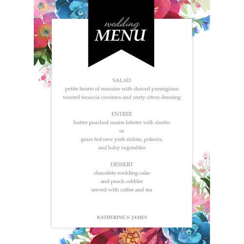 Woodland Floral Deluxe Menu Card