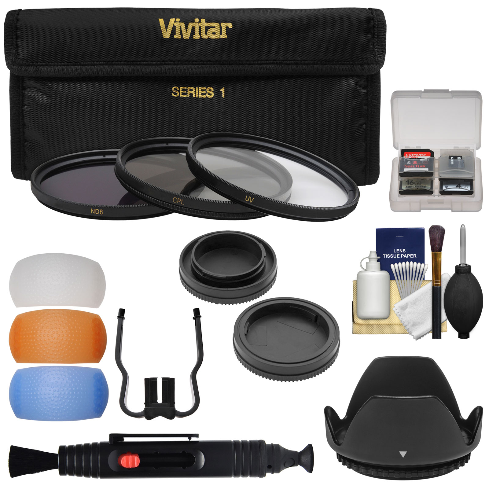 Vivitar 3-Piece Multi-Coated HD Filter Set (55mm UV/CPL/ND8) with Body & Rear Lens Caps + Hood + Diffusers + Lens Brush + Kit for Canon EOS Cameras