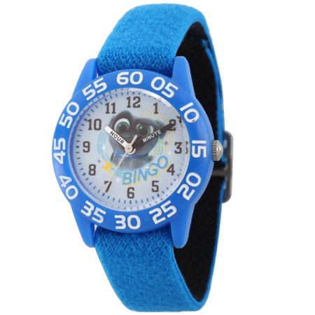 Disney Puppy Dog Pals Bingo Blue Plastic Time Teacher Watch, Blue Stretchy Nylon Strap - Teacher Stuff