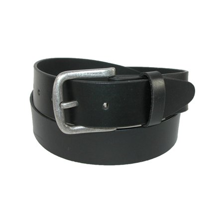 Size 38 Mens Leather Removable Buckle Bridle Belt, Black - Mens Belt Buckle