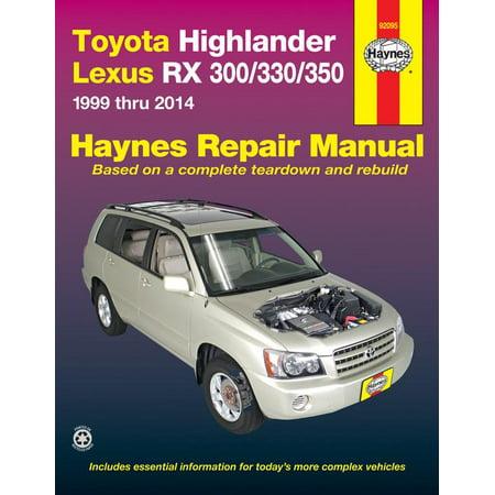 Haynes Repair Manual: Toyota Highlander Lexus RX 300/330/350 1999 Thru 2014 (Paperback) Haynes Xtreme Customizing Manual