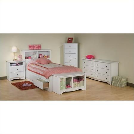 Prepac Monterey White Twin Wood Platform Storage Bed 4 Piece Bedroom Set