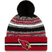 Arizona Cardinals New Era Youth 2021 NFL Sideline Sport Pom Cuffed Knit Hat - Black/Cardinal - OSFA