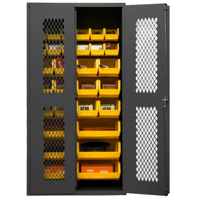 14 Gauge Flush Door Style Lockable Clearview Cabinet with 30 Yellow Hook on Bins, Gray - 36 in.