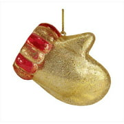 NorthLight 3. 25 inch Gold And Red Glitter Mitten Christmas Ornaments, Set Of 2