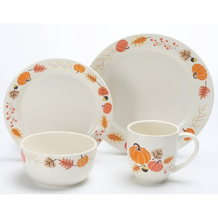 Mainstays 16-Piece Dinnerware Set, Leaf Pumpkin - Walmart.com