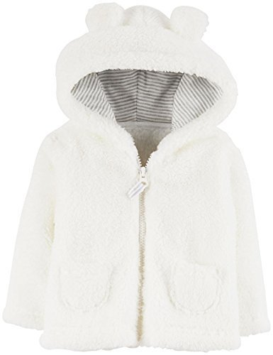 Baby Girls' Sherpa Hooded Jacket (White)